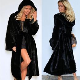 Warm Cloak Coat NZ - Women Long Faux Fur Coat with Hood Autumn Winter Back Fake Fur Hooded Cloak Coat Sexy Elegant Female Fashion Warm Cape 2018