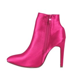 sexy dancing cloth UK - Rose Red Ankle Boots Sexy Women Dance Party Shoes Silk Satin Pointed Toe Short Boots Side Zipper Fashion 2018 Autumn Newest Arrival
