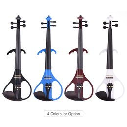 $enCountryForm.capitalKeyWord Canada - wholesale VE-209 Full Size 4 4 Solid Wood Silent Electric Violin Fiddle Maple Body Ebony Fingerboard Pegs Chin Rest Tailpiece