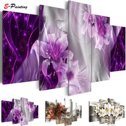 Piece Abstract Canvas Wall Prints Australia - Modern Painting Canvas 5 Pieces Wall Art Abstract Decor Lily Flowers Modular Pictures for Living Room Bedroom Prints