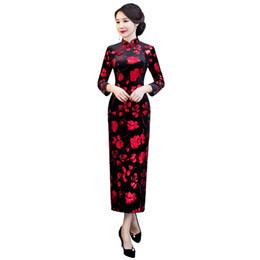 Shanghai Story 2018 New Sale Long Sleeve Qipao Long Chinese Dress Autumn  Cheongsam Red Floral Black Qipao Dress for Women 3928f8d3183a