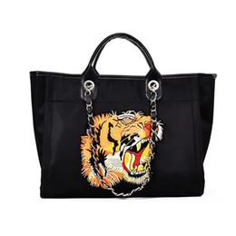 Tiger Head Handbag UK - Autumn and winter diagonal female handbag fashion shopping bag gold velvet embroidery thread tiger head tote bag free shipping