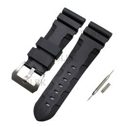 Watches for men panerai online shopping - 24mm mm Buckle mm Men Black Diving Silicone Rubber Watch Band Strap Sport Bracelet Strap Stainless Steel Buckle for Panerai LUMINOR