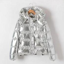 Parkas Women S Outerwear Canada - Stylish Metallic color Striped Quite Hooded Parkas Women Padded Zipper Pilots Coat Outerwear Tops femme Silver color