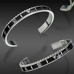 Rhodium jewelRy sets online shopping - Luxury Fashion Watches Style Cuff Bracelet High Quality Stainless Steel Mens Jewelry Fashion Party Bracelets for Women Men with Retail box