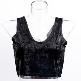 Women Velvet Clothes Australia - Black Blue Velvet Female Tops Tanks Women Casual Sleeveless Short Top Party Club Clothes