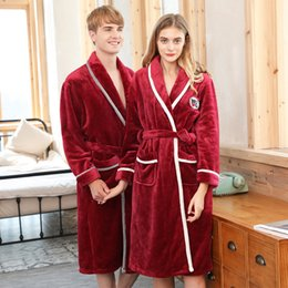 205fbd0470 Coral Fleece Thick Flannel Couples Bathrobe Winter Autumn Long-sleeved Home  Service Women and Men Kimono Robe Nightwear Pajamas