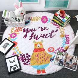 Discount baby alphabet learning Large Printing Round Beach Picnic Blanket Waterproof Kids Play Rug Carpet Indoor Outdoor Baby Adults Play Yard Toy Stora