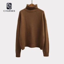 2018 Korean Autumn And Winter Women Sweater Long Sleeve Turtleneck Knitted  Pullover Brown Green Loose Solid Female Jumper Tops Y18101603 97d5f5997