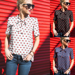 19066789771 Women Chiffon Blouse Shirts Casual Red Lip Print Tie Bow Summer Stand Collar  European Short Sleeve Plus Size S- 3XL Fashion Tops