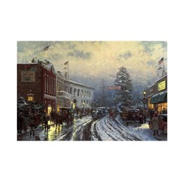 painted christmas canvas UK - Oil Painting Prints on Canvas Wall Art Picture for Living Room Home Decorations Unframed CHRISTMAS-AT-THE-COURTHOUSE