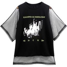 2473cef5960 Summer Women T Shirt Short Sleeve Print Harajuku Kawaii Tshirt Mesh Top  Ulzzang Korean Style Patchwork T-Shirt Streetwear 50G041