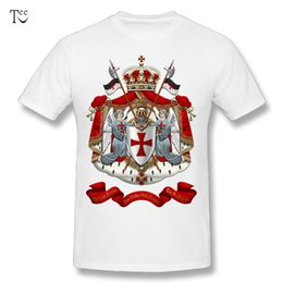 Discount velvet shirts - Round Collar Men's Knights Templar - Coat of Arms over Black Velvet T Shirts Round Neck Design T-Shirt