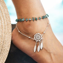 beach anklets NZ - Hollow Dream Catcher Turquoise Anklet Feather Pendant Anklet Beach Irregular Turquoise Fashion Anklet Gift Support FBA Drop Shipping H375F