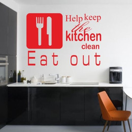 Bathroom Wall Sticker Quotes Australia - Keep Kitchen Clean Wall Quote Dining Room Stencil Funny Art Decal Sticker Vinyl Wall Stickers Home Decor