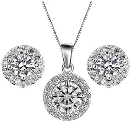 Fashion Jewelry Sets Silver Necklace Earrings Chain Cubic Zirconia Rhinestone Gold Plated Women's Wedding Jewelry Gift