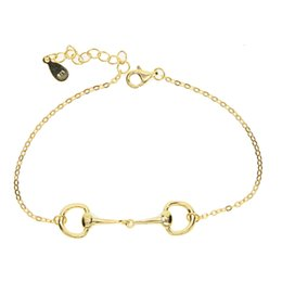 China 925 sterling silver fashion Horse Snaffle Bit Easy Hook Clasp Charm Bracelet & Bangles Jewelry wedding Gift in silver-gold color suppliers