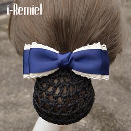 Crochet Snood Hair Net Australia - i-Remiel Stylish Floral Lace Satin Flower Crochet Bow Bowknot Bun Net Snood Hair Accessorie Hair Headdress Hair Clips Women Lady
