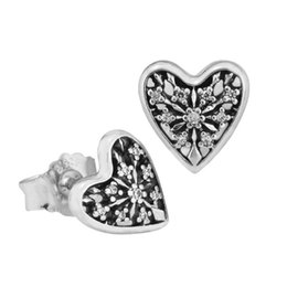 $enCountryForm.capitalKeyWord Australia - 2018 Summer New Authentic 925 Sterling Silver Hearts Of Winter With Crystal Stud Earring For Women Wedding Party Gift fit Lady Fine Jewelry