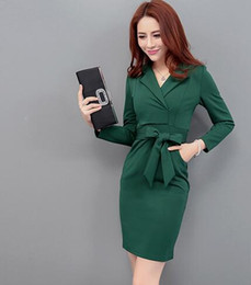 new packaging products 2019 - 2018 Korean version of the autumn and winter new product package hip slim office lady dress cheap new packaging products