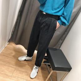Denim Haren Pant NZ - 2018 Korean Style Men's Fashion Haren Casual Pants Baggy Homme Classic Stretch Jeans Black blue Color Biker Denim Trousers M-2XL