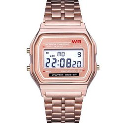 Wholesale Orologio digitale LED in oro rosa F-91W Orologi F91 Fashion -thin LED Change Orologi da polso WR Sport Watch per bambini
