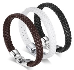 Wholesale Punk Men Jewelry Black Brown Braided Leather Bracelet Stainless Steel Magnetic Clasp Fashion Bangles