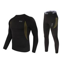 Wholesale men t shirt underwear sets resale online – Hot Outdoor ESDY Spring Autumn Sport Fleece Thermal Warm Sweat compression Underwear Tactical Hiking T shirt Set Men