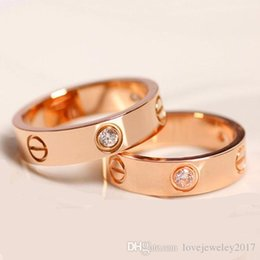 China Stainless Steel 6mm Rose Gold Love rings with diamonds silver gold lovers nails Band Rings for couple Women and Men fine jewelry suppliers