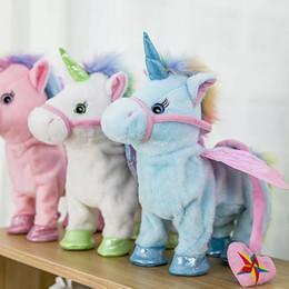 Caminata eléctrica Unicornio de peluche de peluche juguete de peluche juguete de juguete electrónico Unicornio juguete para niños Regalos de Navidad 35cm FFA856 10PCS en venta