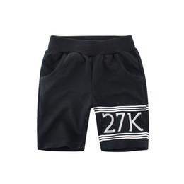 $enCountryForm.capitalKeyWord UK - Casual Kids Boys Short Mid Pants 100% Cotton Childrens Letter Print Shorts Sports Summer Half Trousers Kids Mid-waist Knee Length Pants