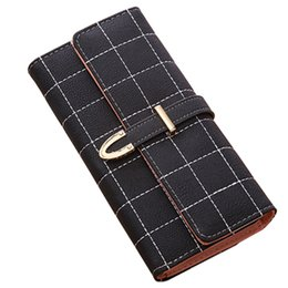 Grid Wallet UK - New Grid Women Purse Scrub Women Long Wallets Lady Card Holder Clutch Coin Purse Matte Leather Wallet Carteira Feminina QL