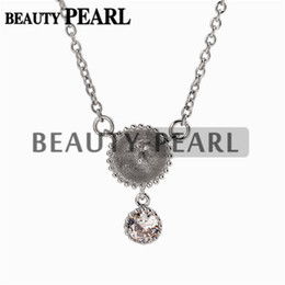 $enCountryForm.capitalKeyWord NZ - Dangle with One Zircon Pendant Necklace Blank for Pearl 925 Sterling Silver Chain Base 5 Pieces