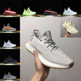 Discount frozen low shoes - 2018 Kanye West SPLY 350 V2 Butter Sesame Semi Frozen Yellow Zebra Black Red Women Running Sports Shoes Mens Designer Sn