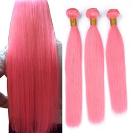 $enCountryForm.capitalKeyWord NZ - Pure Colored Pink Human Hair 3 Bundles 300g Lot Silky Straight Light Pink Virgin Peruvian Hair Weave Double Weft Extensions 3Pcs Lot