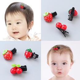 girl hair accessories cherry 2018 - Girl Hair Accessories Hair Decor Kid Girl Hairpin with Cherry Strawberry 1-5 Years Old Clip discount girl hair accessori