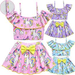 Cotton turtleneCks kids online shopping - Girls Split Swimsuit Set Children Rainbow Unicorn Sling Bow Lotus Collar Summer Swim Suit Baby Kids Clothes