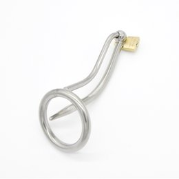 steel lock urethral sound UK - Male stainless steel CB chastity device with urethral catheterization penis penis lock Alternative irritating M10 sex toys