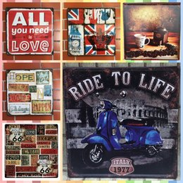 Vintage Painting Signed Australia - RIDE TO LIFE 30*30cm Posters Home Decor Tin Signs Vintage Decor Graphic Tablet Metal Art Iron Wall Paint Crafts Supplies