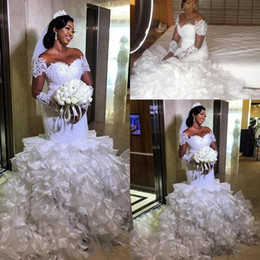 Wholesale nigerian new african dresses resale online - 2019 New African Mermaid Wedding Dresses Long Sleeves Lace Appliques Jewel Neck Illusion Organza Ruffles Tiered Nigerian Formal Bridal Gowns