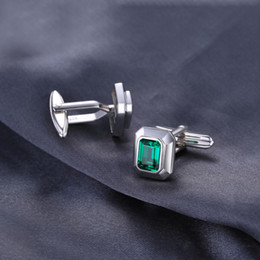 JewelryPalace Men 4ct Created Emerald Cufflinks Genuine 925 Sterling Sliver Cufflinks for Men Fine Jewelry  on Sale