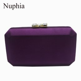 Discount new phone box - Nuphia New Silk Satin Evening Box Clutches and Evening Bags Purple Red Pink Green Black D18110106