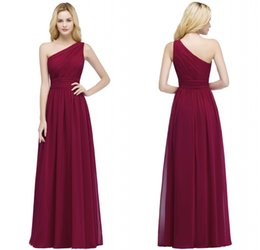 2017 Designer in stock Cheap Bridesmaid Dresses Burgundy Chiffon One Shoulder Bridesmaid Dress Vestidos Formal Prom Party Gowns CPS878 on Sale