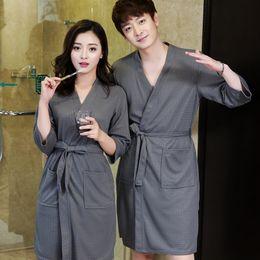 Lovers Summer Water Absorption Fashion Towel Bath Robe Men Sexy Kimono  Waffle Bathrobe Mens Plus Size Dressing Gown Male Robes C18110901 63ef40c78