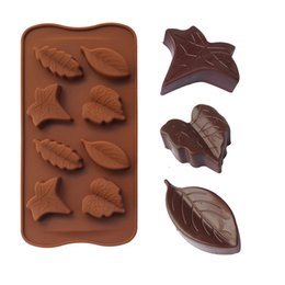 silicone leaf mould NZ - Leaf Silicone Candy Mold Chocolate Moulds Tray Cupcake Topper Party Cake Mold Ice Cube Trays 8 Leaves Baking Tools Wholesale 10PCS