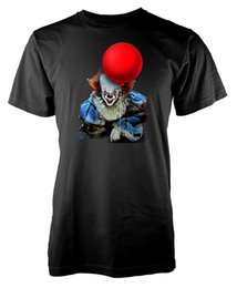 China Stephen King It Pennywise The Clown Red Balloon Adult T Shirt Cool Casual Pride T Shirt Men Unisex New Fashion Tshirt cheap clown tshirt suppliers
