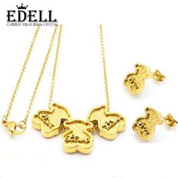 Bear Earrings Pendant NZ - EDELL Stainless Steel Charm 14K Gold Color Cute Three Bear Print Love Long Earrings Pendant Necklace Set Original Women Wedding