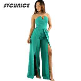 Split Club Sexy Jumpsuit Womens 2018 Off Shoulder Strapless Jumpsuit Mujeres  Summer Rompers White Elegante Overol Negro e59e851ee857