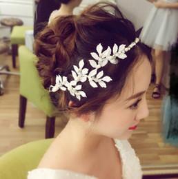 Rose gold cRystal haiR accessoRies online shopping - Bridal handmade pearl headwear white leaf wedding dress accessories hair accessories bridal ornaments