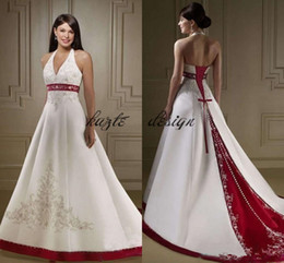 Short wedding dreSS church online shopping - vintage White And Red Wedding Dresses halter Embroidery Chapel Train Corset lace up country Bridal Wedding Gowns For Church